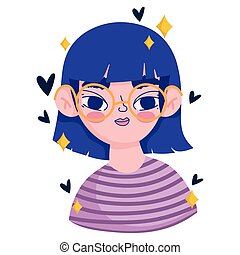 cute cartoon girl character with striped shirt design