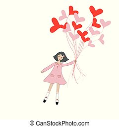 Cute cartoon girl flying with hearts shape balloons