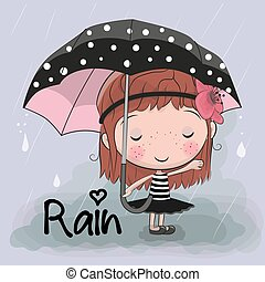 Cute cartoon girl girl with an umbrella