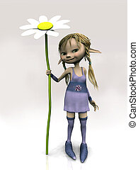 Cute cartoon girl holding big flower