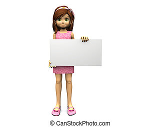 Cute cartoon girl holding blank sign.