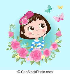 Cute cartoon girl in a wreath of roses flowers with butterflies. Vector illustration