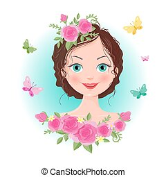 Cute cartoon girl in a wreath of roses. Vector illustration