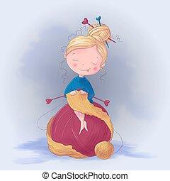Cute cartoon girl knits a scarf. Vector illustration