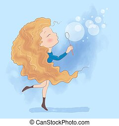 Cute cartoon girl makes soap bubbles. Vector illustration