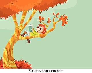 Cute cartoon girl reading book over a tree
