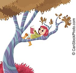 Cute cartoon girl reading book over a tree.