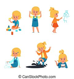 Cute cartoon girl set, collection of blonde little child playing, drawing, jumping in mud, petting a cat
