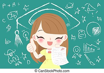 cute cartoon girl student