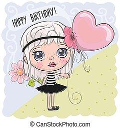 Cute Cartoon Girl with a balloon