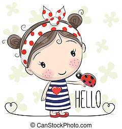 Cute Cartoon Girl with a bow and ladybug