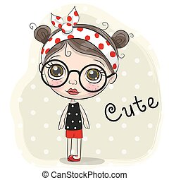 Cute Cartoon Girl with a glasses