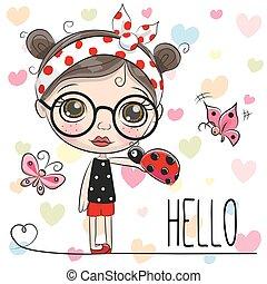 Cute Cartoon Girl with a ladybug