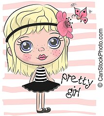Cute Cartoon Girl with flower