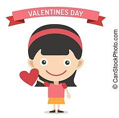 Cute cartoon girl with heart vector illustration