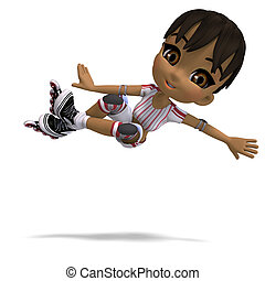 cute cartoon girl with inline skates. 3D rendering with...