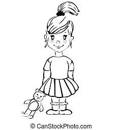 Cute cartoon girl with teddy bear