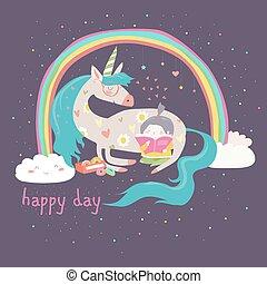 Cute cartoon girl with unicorn