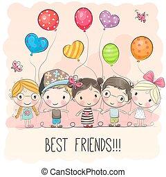 Cute cartoon girls and boys - Three Cute cartoon girls and...
