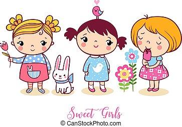 Cute cartoon girls set. V