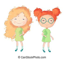 Cute cartoon girls. Vector illustration