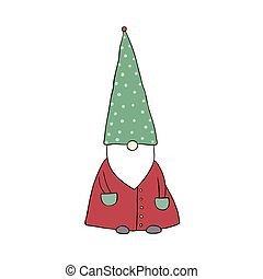 cute cartoon gnome. Funny elves. - Funny elves. isolated...