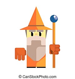 Cute cartoon gnome in an orange hat with a staff in his hands. Fairy tale, fantastic, magical colorful character