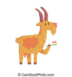 Cute cartoon goat brushing teeth with tooth brush and paste colorful character, animal grooming vector Illustration