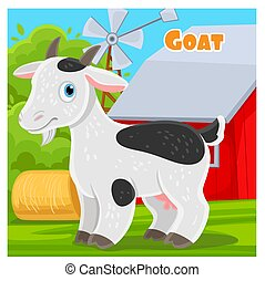 Cute cartoon goat on a farm background