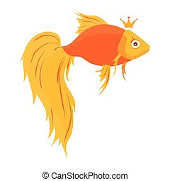 Cute cartoon gold fish on white background- vector illustration