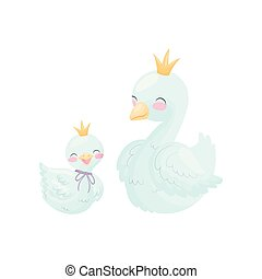 Cute cartoon goose and gosling. Vector illustration on white...