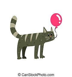 Cute cartoon gray cat holding red balloon Happy Birthday colorful vector Illustration