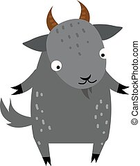 Cute cartoon gray goat mammal farm animal. - Cartoon goat...