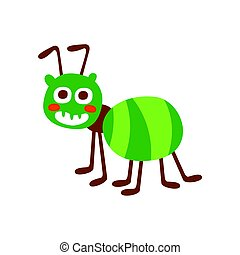 Cute cartoon green ant colorful character vector Illustration