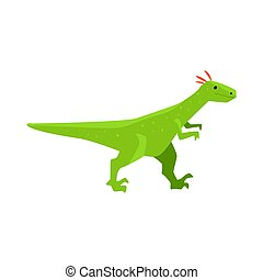 Cute cartoon green dinosaur character, Jurassic period animal vector Illustration
