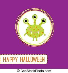 Cute cartoon green monster. Violet background. Happy Halloween card