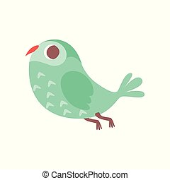 Cute cartoon green owlet bird character flying vector Illustration on a white background