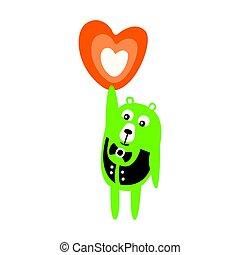 Cute cartoon green teddy bear standing and holding an orange heart in a raised hand.