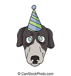 Cute cartoon greyhound dog face with party hat vector clipart. Pedigree kennel racing hound for dog lovers. Purebred domestic pooch for celebration illustration. Isolated fast canine puppy. EPS 10.