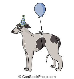 Cute cartoon greyhound dog with party hat vector clipart. Pedigree kennel racing hound for dog lovers. Purebred domestic pooch for celebration illustration. Isolated fast canine puppy. EPS 10.