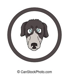 Cute cartoon Greyhound face in circle dog vector clipart. Pedigree kennel doggie breed for kennel club. Purebred domestic dog training for pet parlor. Illustration mascot. Isolated canine.