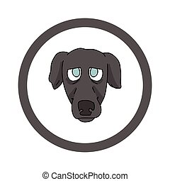 Cute cartoon Greyhound face in circle puppy vector clipart. Pedigree kennel doggie breed for kennel club. Purebred domestic dog training for pet parlor. Illustration mascot. Isolated canine.