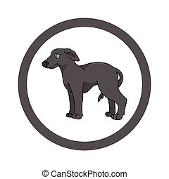 Cute cartoon Greyhound in circle puppy vector clipart. Pedigree kennel doggie breed for kennel club. Purebred domestic dog training for pet parlor. Illustration mascot. Isolated canine.