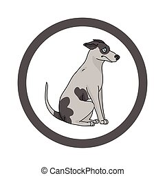 Cute cartoon Greyhound in dotty circle dog vector clipart. Pedigree kennel doggie breed for kennel club. Purebred domestic dog training for pet parlor. Illustration mascot. Isolated canine.