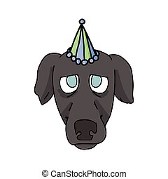 Cute cartoon greyhound puppy face with party hat vector clipart. Pedigree kennel racing hound for dog lovers. Purebred domestic pooch for celebration illustration. Isolated fast canine dog. EPS 10.