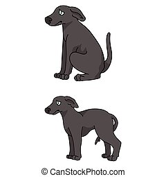 Cute cartoon Greyhound puppy vector clipart. Pedigree kennel doggie for pet parlor mascot. Purebred domestic sighthound dog training for kennel club illustration. Isolated canine breed.