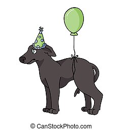 Cute cartoon greyhound puppy with party hat vector clipart. Pedigree kennel racing hound for dog lovers. Purebred domestic pooch for celebration illustration. Isolated fast canine dog. EPS 10