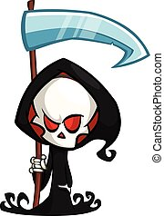 Cute cartoon grim reaper with scythe isolated on white. Cute...