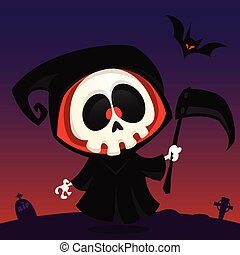 Cute cartoon grim reaper with scythe poster for Halloween party