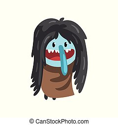 Cute cartoon hairy monster character with funny face vector Illustration on a white background